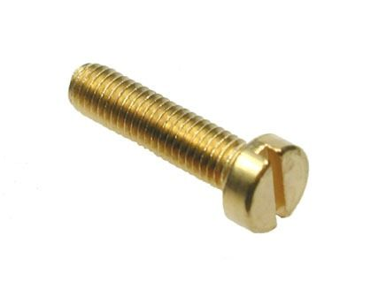M3 x 8mm - Machine Screw Cheese Head Slotted DIN 84 - Brass - Pack of 25
