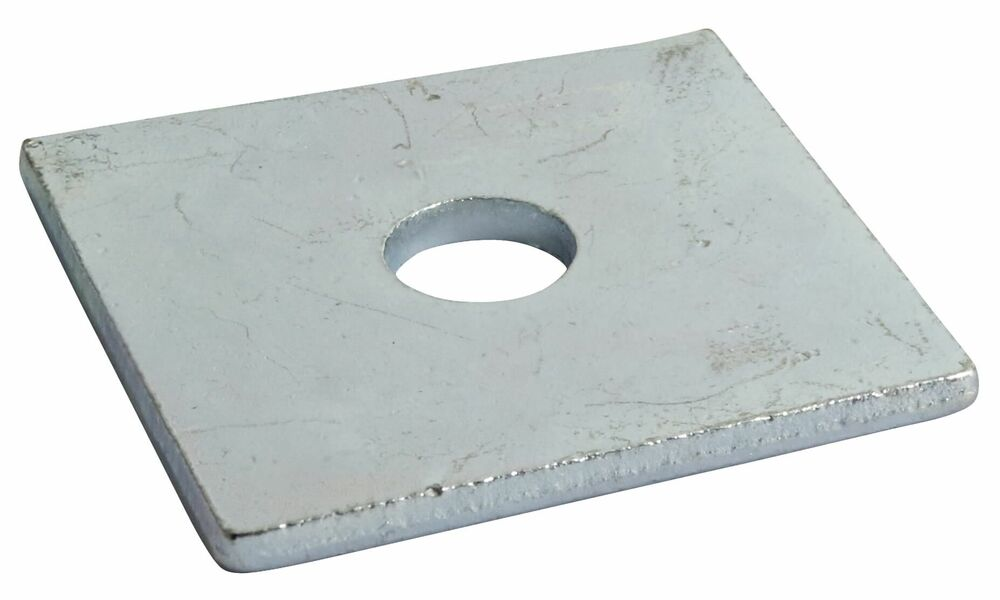 12mm Round Hole 50mm x 50mm x 3mm - Square Plate Washer BS 3410 - BZP - Pack of 25